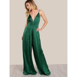 Dresses & Skirts - Green Surplice Front Box Pleated Culotte Leg Cami